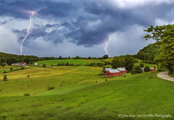 Lightening fills the sky over Jenne Farm in Vermont.  Photo by John Vose.  Visit him at Jericho Hills Photography.