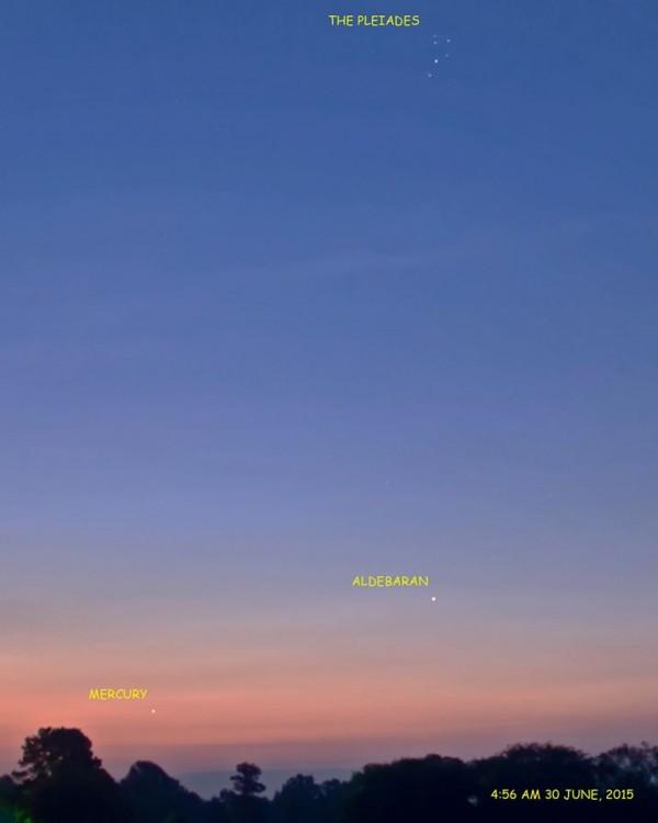 Mercury, Aldebaran, Pleiades on June 30, 2015 by Ken Christison.