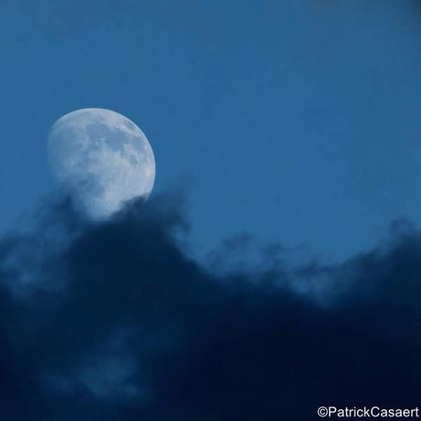 Pale blue gibbous moon against blue sky.