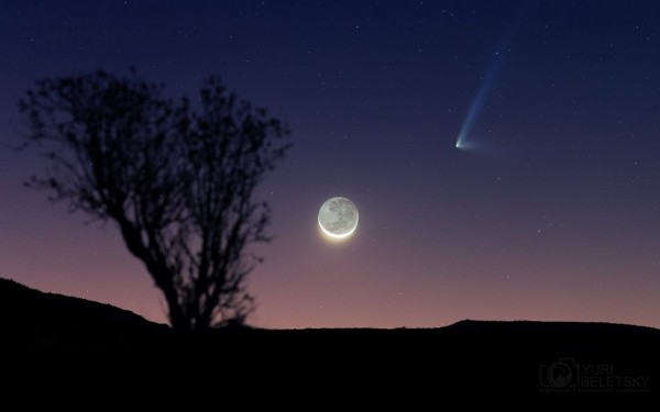 Moon and Comet C/2014 Q1 (PANSTARRS) on July 17, 2015 from Yuri Beletsky in Chile.