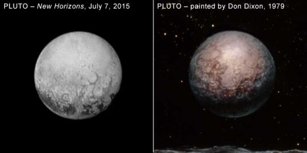July 7, 2015 New Horizons image of Pluto compared to a 1979 painting of Pluto by space artist Don Dixon.