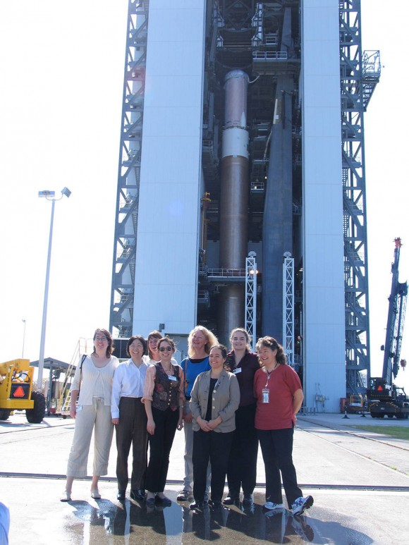 Members of the New Horizons team are shown at the launch of the spacecraft, Kennedy Space Center, Cape Canaveral, Florida on January 19, 2006. Image credit: KSC/NASA