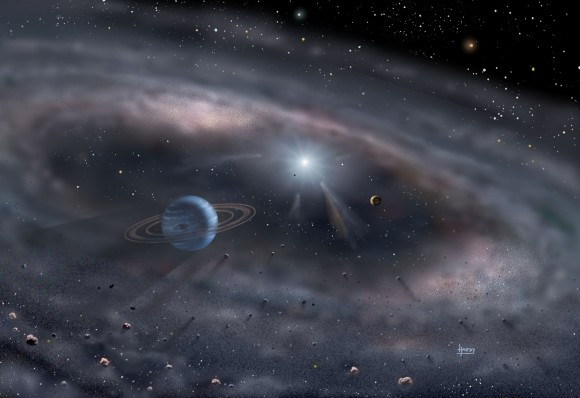 Planets form around a young star in this artist's concept. Image via David A. Hardy/www.astroart.org