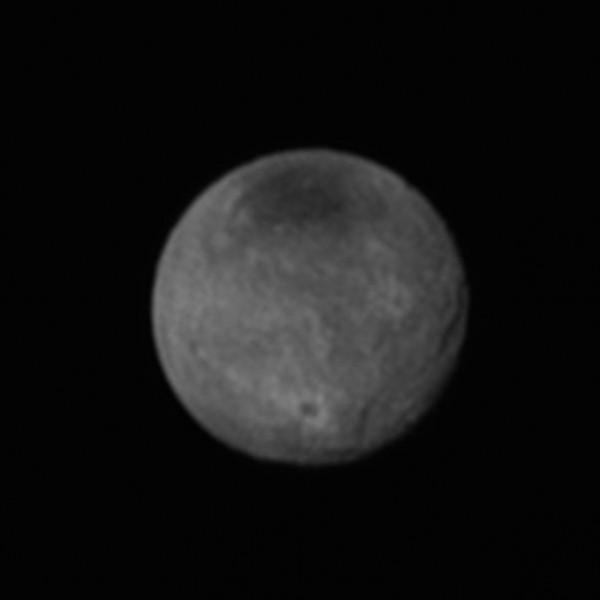 New Horizons image of Pluto's largest moon Charon, taken July 11, 2015.  Credits:NASA/JHUAPL/SWRI