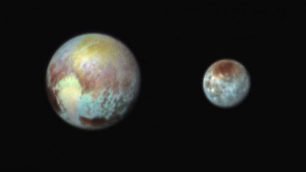 Composite image of Pluto and Charon, released by NASA on Monday.