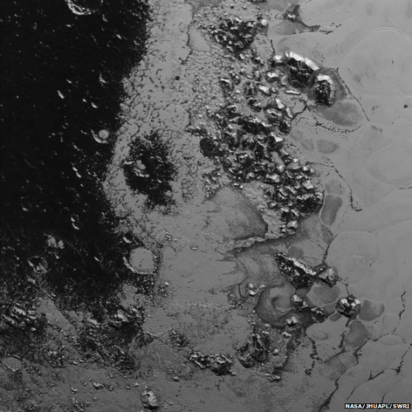 A second range of ice mountains has been discovered on Pluto.  Image via New Horizons spacecraft as it passed near on July 14, 2015.
