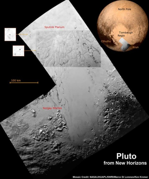 The New Horizons team is finding that Pluto's terrain is surprisingly varied.  Composite image via New Horizons spacecraft.