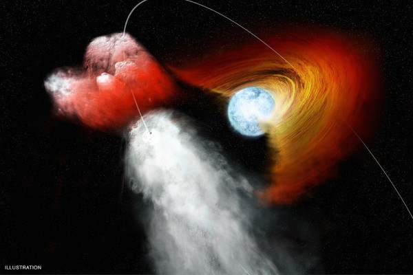 Artist's concept of a pulsar punching a hole in a stellar disk