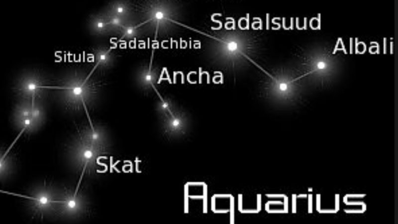 Star chart of the constellation Aquarius with six stars labeled, including Skat.