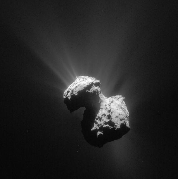 Material jetting from the comet on July 7, 2015. Image via ESA/Rosetta/NAVCAM – CC BY-SA IGO 3.0.