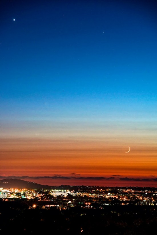 View larger.| Venus, Jupiter and moon on July 17, 2015 by Jim Hatcher in San Diego.