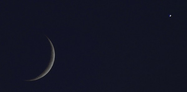 Moon and Venus, July 18, 2015, from Wayne Clingingsmith in Mountain View, California.  Notice both are crescents now.