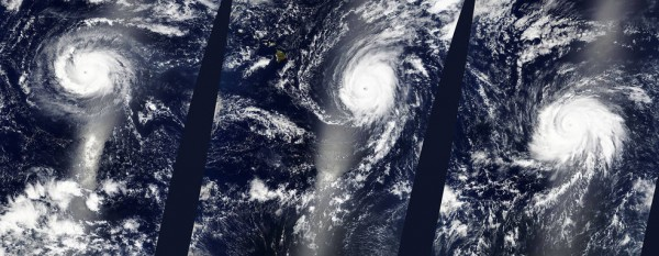 NASA's Terra satellite saw Hurricanes Kilo, Ignacio, and Jimena, all Category Four Hurricanes, lined up across the Central and Eastern Pacific Ocean on August 29 at 22:25 UTC (6:25 p.m. EDT).