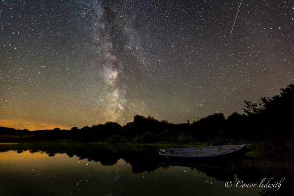 View larger. Conor Ledwith Photographyshares this photo of a Perseid meteor and the Milky Way over Lough Corrib, Galway, Ireland. Thank you Coner!