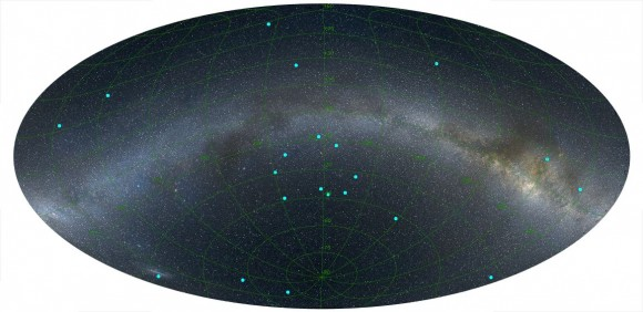 An image of the distribution of GRBs on the sky at a distance of 7 billion light years, centered on the newly discovered ring. The positions of the GRBs are marked by blue dots and the Milky Way is indicated for reference, running from left to right across the image. View larger. |  Image credit: L. Balazs.