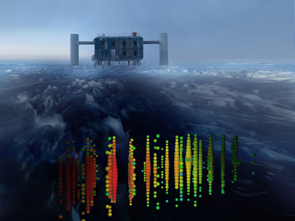 Illustration showing one of the highest-energy neutrino events of this study, superimposed on a view of the IceCube Lab at the South Pole. Evidence of the neutrinos heralds a new form of astronomy.