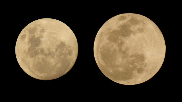 View larger.   At right, the August 29, 2015 supermoon at exactly the time (18.36 UT) when it was full. At left, the March 5, 2015 'micro-moon' - smallest full moon of the year.  Photos by Peter Lowenstein in Mutare, Zimbabwe.