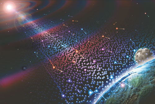 Artist's concept of neutrinos in space.  They are penetrating everything, all the time.  Image via jovianarc