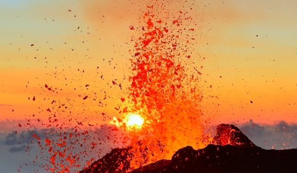 "Piton de la Fournaise or ""Peak of the Furnace"" on Reunion Island is one of the world's most active volcanoes, shown erupting in August 2015. Photo credit: AAP/NewZulu/Vincent Dunogué"
