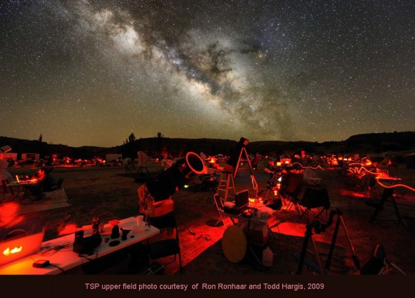 Here's the Texas Star Party in 2009, one of the biggest such events of the year, drawing about 500 deep-sky enthusiasts and their telescopes to the Davis Mountains of West Texas.  Image via Todd Hargis / Ron Ronhaar.  Used with permission.