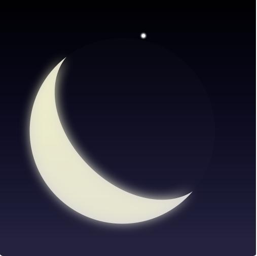 In this July 1997 still frame captured from video, the bright star Aldebaran has just reappeared on the dark limb of the waning crescent moon in this predawn occultation.  Image via Wikipedia