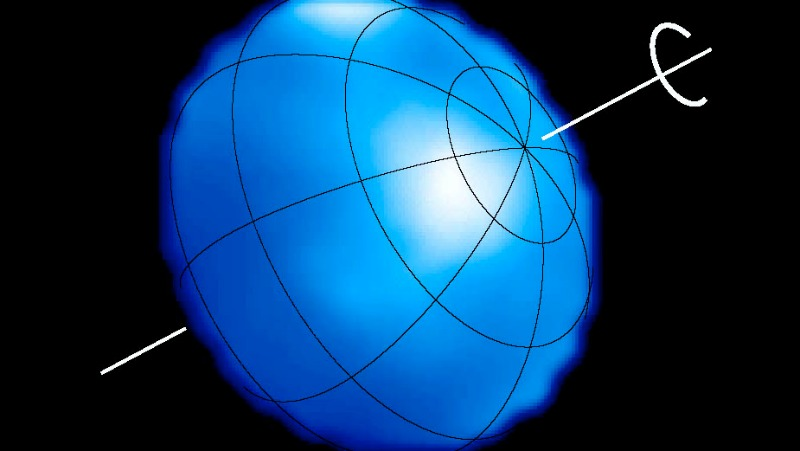Blue flattened ball with lumpy outline showing axis, latitude longitude lines, and bright spots.