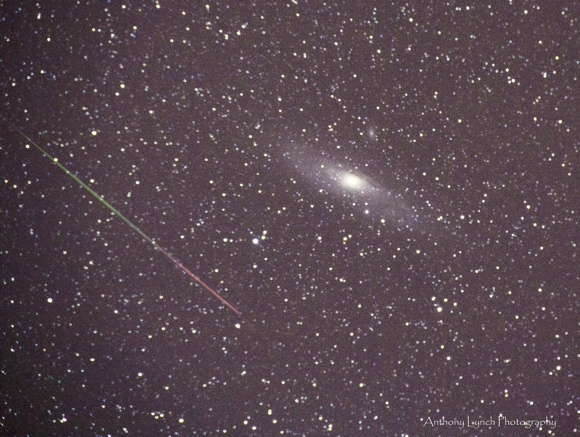 View larger. Anthony Lynch Photography provided this beauty of a Perseid meteor and the Andromeda galaxy. Thank you Anthony!