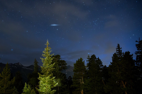 View larger. Meteor over Breckenridge, Colorado, by Brian Abeling. Thank you Brian!