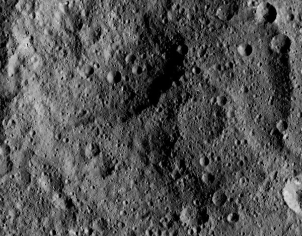 A degraded crater on Ceres.