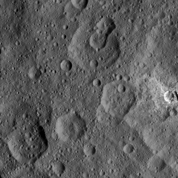 View larger. | A 143-km / 89-mile-wide cratered area within the northern hemisphere on 1 Ceres.