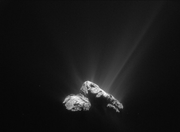 That's mostly water jetting off the nucleus of comet 67P/Churyumov-Gerasimenko on 30 July 2015 as the comet drew closer to the sun. Image credit: ESA/Rosetta/NAVCAM