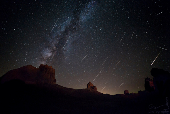 View larger. Cory Smart  found a perfect place for watching the Perseid meteors at the Mojave Desert, California. Cory says,