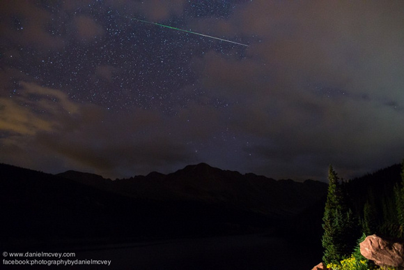 View larger. Perseid Meteor from Summit County, Colorado, by Daniel McVey. Thank you Daniel!