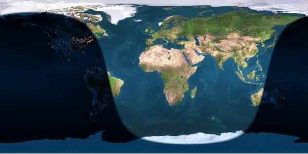 Day and night sides of Earth at the instant of full moon (2016 August 18 at 9:27 Universal Time. Map via EarthView