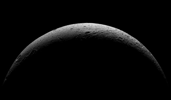 NASA's Cassini spacecraft captured this parting view showing the rough and icy crescent of Saturn's moon Dione following the spacecraft's last close flyby of the moon on Aug. 17, 2015. Image credit: NASA/JPL-Caltech/Space Science Institute