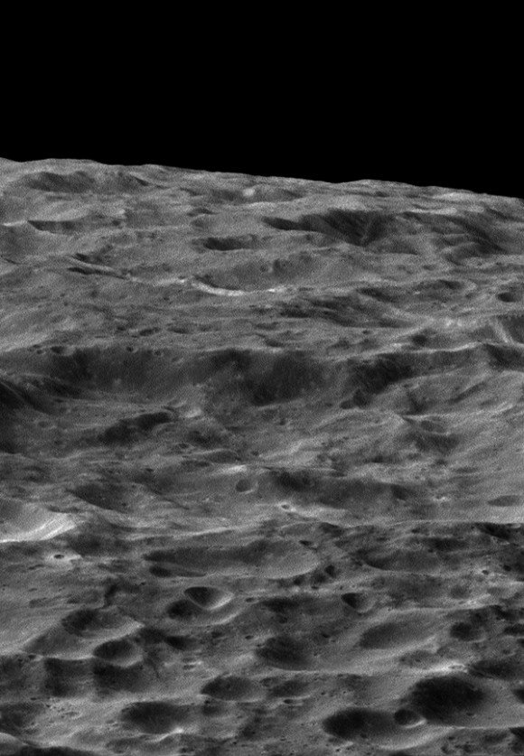 NASA's Cassini spacecraft gazes out upon a rolling, cratered landscape in this oblique view of Saturn's moon Dione. Image credit:NASA/JPL-Caltech/Space Science Institute