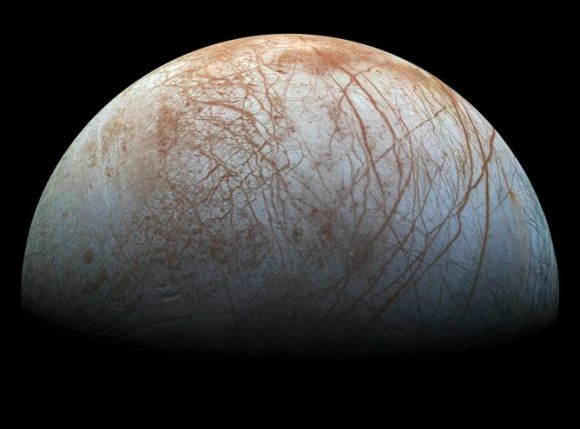 Europa, a 3130 km diameter moon of Jupiter. There is almost certainly a global ocean of salty water between the surface ice and the rocky interior. Image credit: NASA/JPL-Caltech/SETI Institute