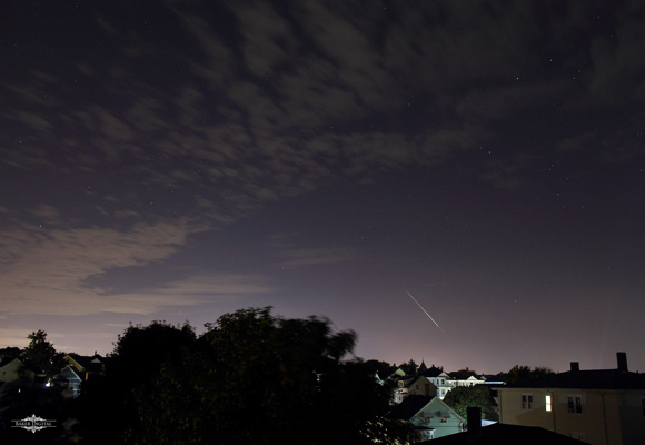 View larger. Jacob Baker caught this meteor in Fall River, Massachusettes, before the clouds took over. Thank you Jacob!