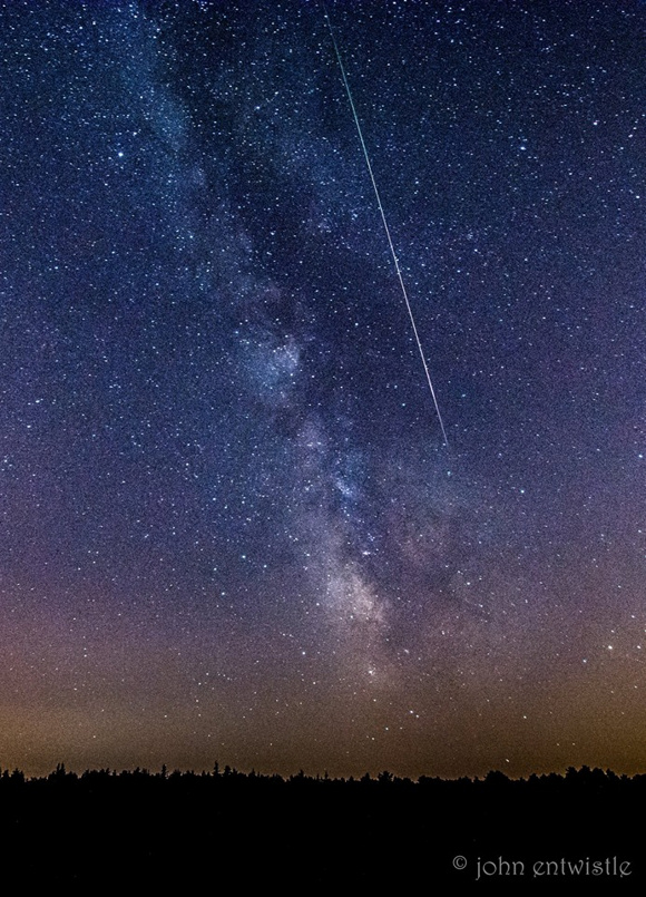 View larger. John Entwistle provides a photo of a  brilliant Perseid meteor streaking down next to the Milky Way Galaxy, Jersey Shore, NJ. Thank you John!