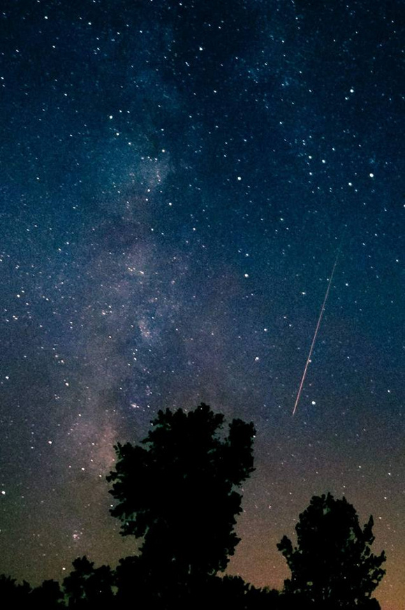 View larger. Photo of Perseid taken by Jolynn Keutzer Bales from Camp Atterbury, Trafalgar, Indiana last night. Thank you Jolynn!