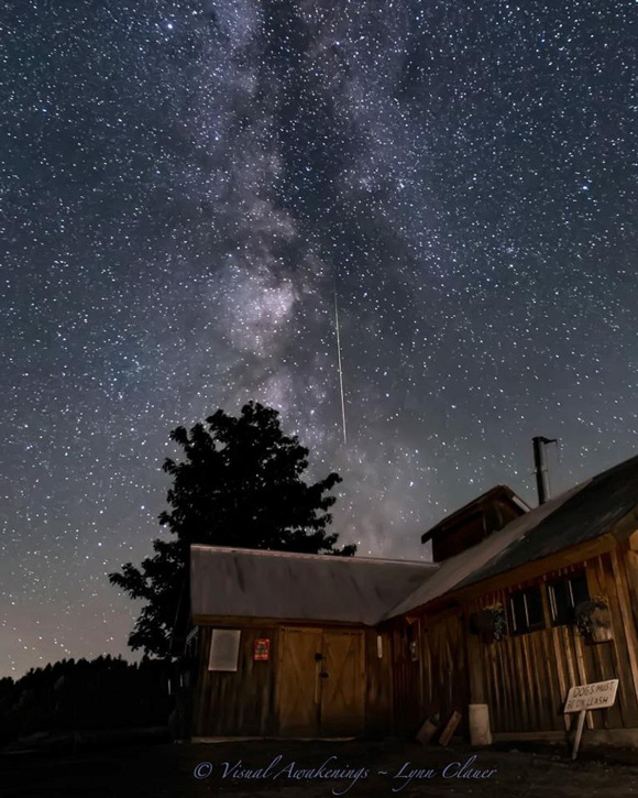 View larger. Lynn Clauer shares her photo of a Perseid, Milky Way, and a Vermont sugarhouse / Isham farm Williston,Vt. Thank you Lynn!