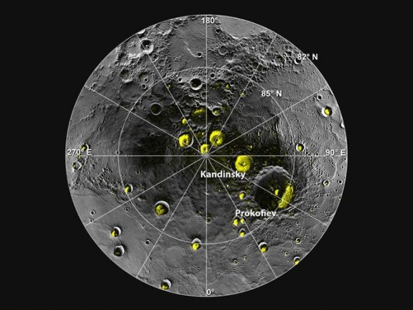Mercury's north polar region. The yellow areas are in permanent shadow. Image credit: ASA/Johns Hopkins University Applied Physics Laboratory/Carnegie Institution of Washington/National Astronomy and Ionosphere Center, Arecibo Observatory