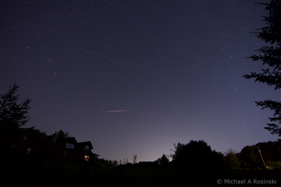 View larger. Michael A. Rosinsky caught some Perseid meteors on the night of August 11-12, 2015. Thank you Michael!