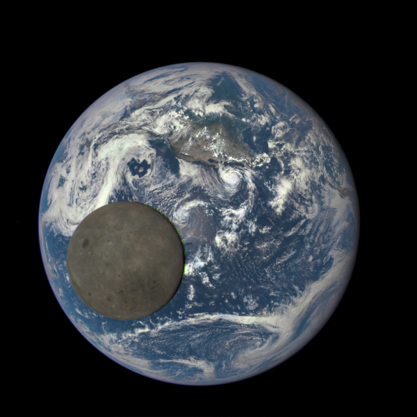 Still image of July, 2015 capture by DSCOVR satellite of moon and Earth.