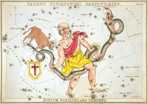 Antique color etching of old bald bearded man in ancient Greek garb holding a long writhing snake.
