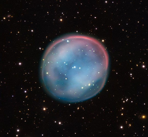 This extraordinary bubble, glowing like the ghost of a star in the haunting darkness of space, may appear supernatural and mysterious, but it is a familiar astronomical object: a planetary nebula, the remnants of a dying star. This is the best view of the little-known object ESO 378-1 yet obtained and was captured by ESO's Very Large Telescope in northern Chile. Image credit: ESO
