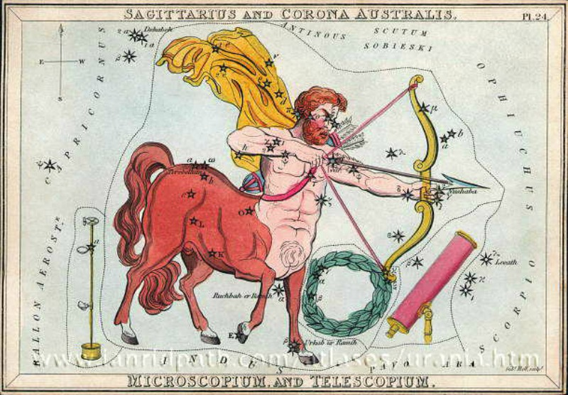 Antique etching of a centaur with a drawn bow, and stars scattered over the whole drawing.