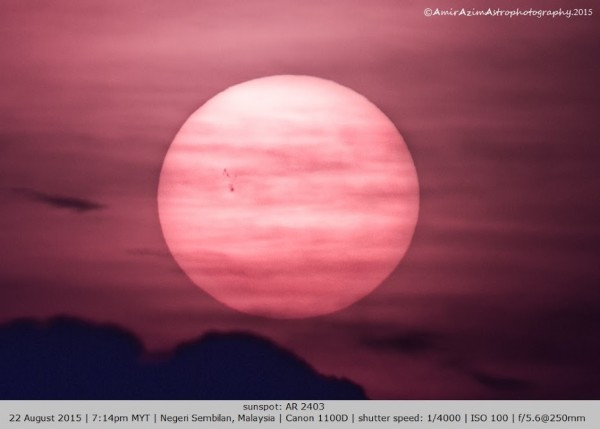 Amirul Hazim in Malaysia caught AR2403 on August 22, 2015, in a cloudy sky at sunset.