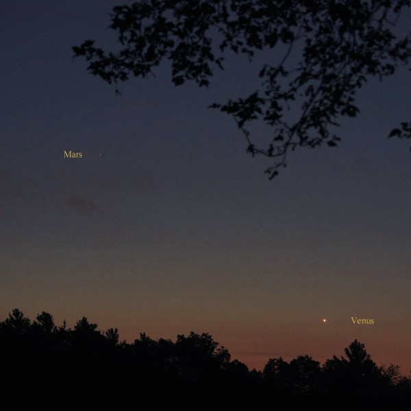 View larger. | Venus and Mars on August 30, 2015 as captured by Dennis Chabot.