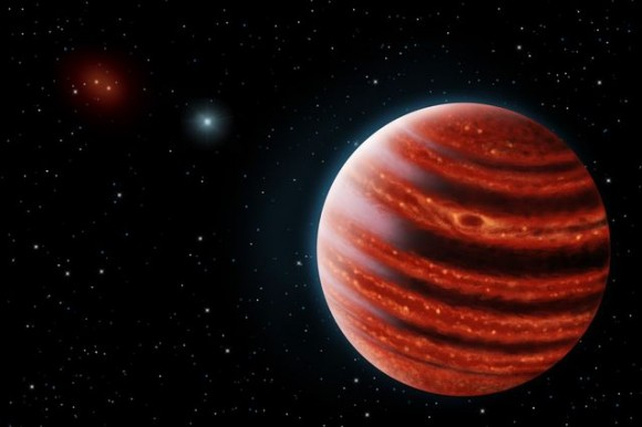 An artist's conception of the Jupiter-like exoplanet 51 Eridani b, seen in the near-infrared light that shows the hot layers deep in its atmosphere glowing through clouds. Image credit: Danielle Futselaar and Franck Marchis/SETI Institute